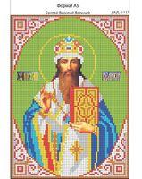 Святой Василий Великий,  И-137 схема с рисунком для вышивания бисером на габардине
