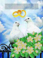 """Свадебная метрика """"Голубки"""", ЮМА-435 схема для вышивки бисером"""