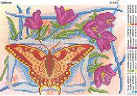 Бабочка, ЮМА 4103 схема-рисунок для вышивания бисером №10 на ткани