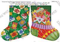 Сапожок новогодний - медвежонок, DANA-2145 схема вышивки бисером на ткани