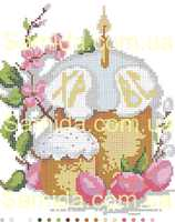 АРОМАТНЫЕ ПАСХИ А4-1 схема с рисунком для частичной вышивки бисером №10 на габардине