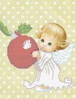 Ангелочек с яблоком А4-570 схема для вышивки бисером