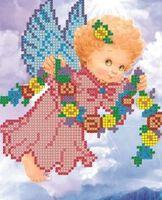 Ангелочек с веночком, СД-067 схема с рисунком для частичного вышивания бисером на атласе