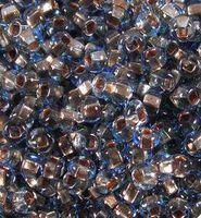 Бисер №69000, №10, Preciosa (Чехия), сине-голубой, с бронзовой серединкой, прозрачный