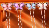 Шпилька Бабочка - шпилька для волос со стразами в форме бабочки, металл