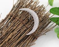 Заколка Серебренный месяц для волос со стразами