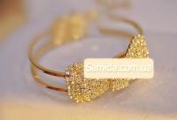 Браслет Бантик стразы ювелирный металл цвет золотой