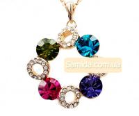 Ожерелье с кристаллами, украшение на металлической основе округлой формы