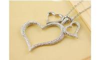 Бусы Ожерелье Сердца ювелирный металл под серебро