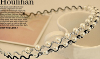 Обруч для волос на металлической основе украшенный жемчужинами