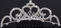 Корона гребешок диадема украшение со стразами ювелирный металл