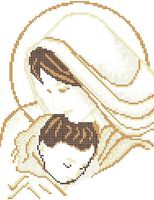 Мадонна с младенцем схема для вышивки бисером А4 - 051