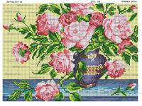 Нежные розы схема вышивки бисером на ткани SA 3 - 59