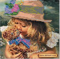 Любимая игрушка АС-423 схема с рисунком на художественном холсте для частичной вышивки бисером