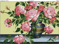 Натюрморт с розовыми розами К-174 схема с рисунком на габардине для полного вышивания бисером