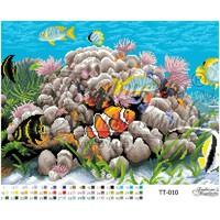 Подводный мир, ТТ-010 схема-рисунок на атласе для вышивания бисером №10 формат А-3