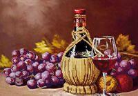 Виноградное вино DANA-325 схема с рисунком для частичной вышивки бисером на габардине