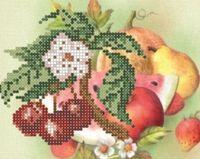 Вишеньки, СД-032 схема-рисунок для частичной вышивки бисером №10 на атласе