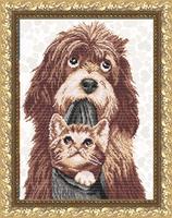 Собака с котенком, VKA-3055 схема-рисунок на габардине для вышивки бисером формат А-3
